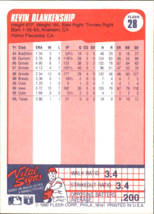 1990 Fleer #28 Kevin Blankenship back image