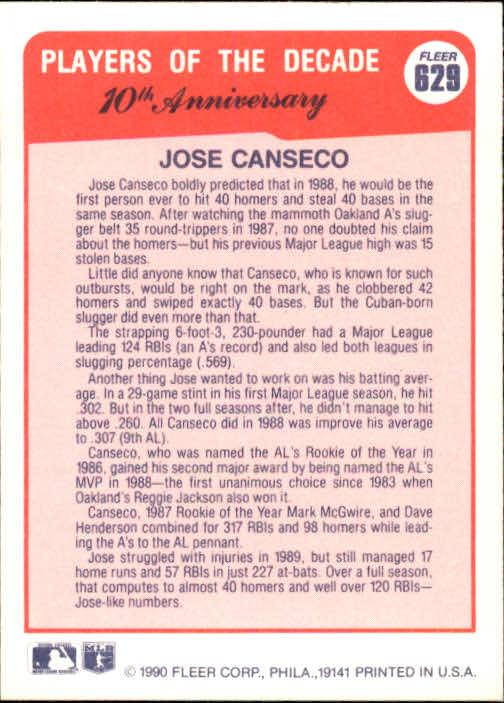 1990 Fleer #629 J.Canseco '88 UER/Reggie won MVP in/'83, should say '73 back image