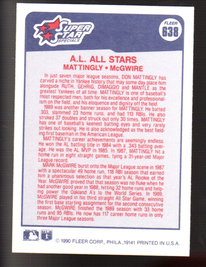 1990 Fleer #638 Don Mattingly/Mark McGwire back image