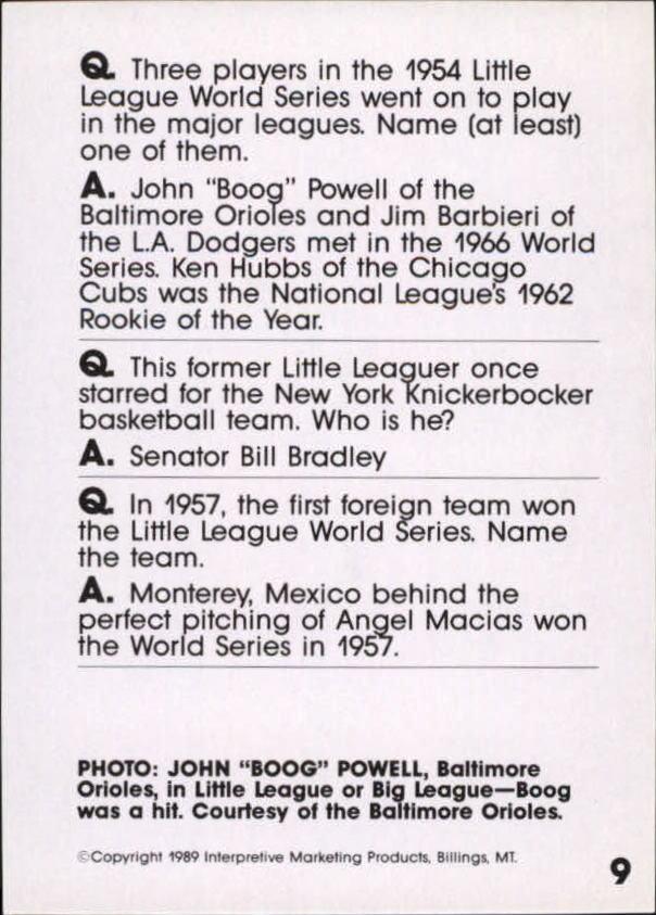 1990 Baseball Wit #9 Boog Powell back image