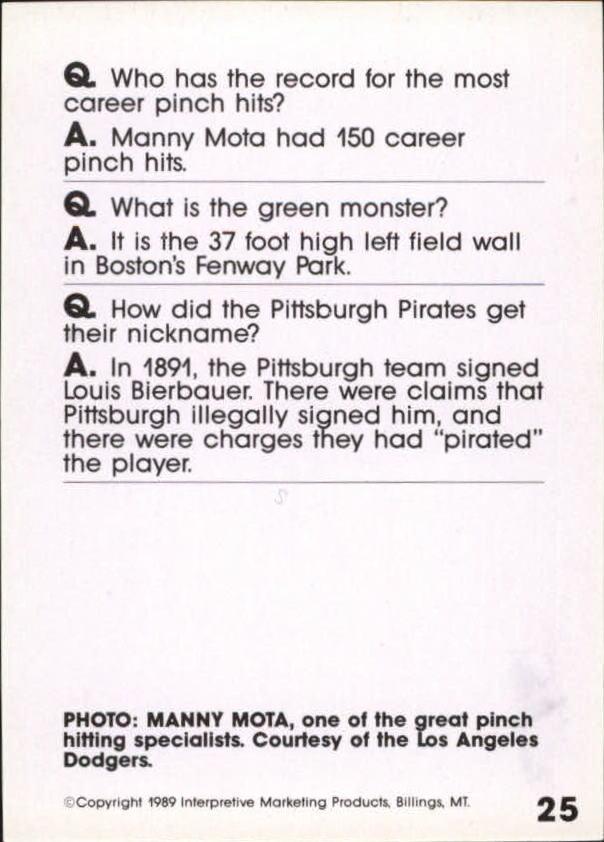 1990 Baseball Wit #24 Yogi Berra back image