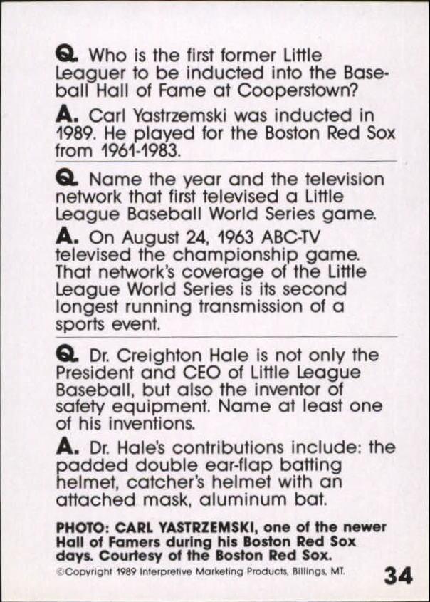 1990 Baseball Wit #34 Carl Yastrzemski back image