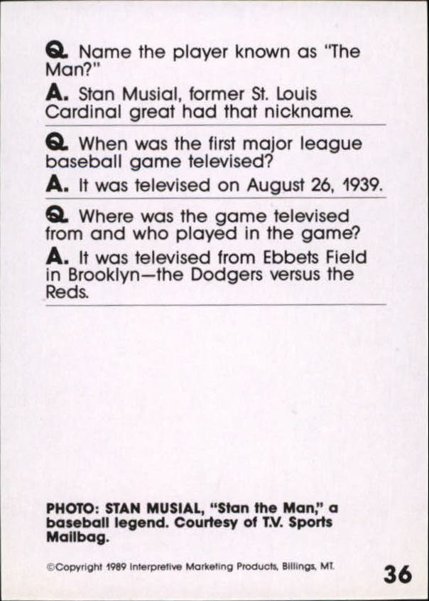1990 Baseball Wit #36 Stan Musial back image