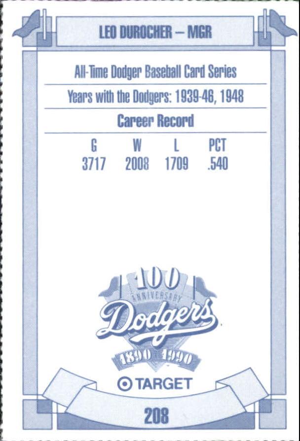 1990 Dodgers Target #208 Leo Durocher back image