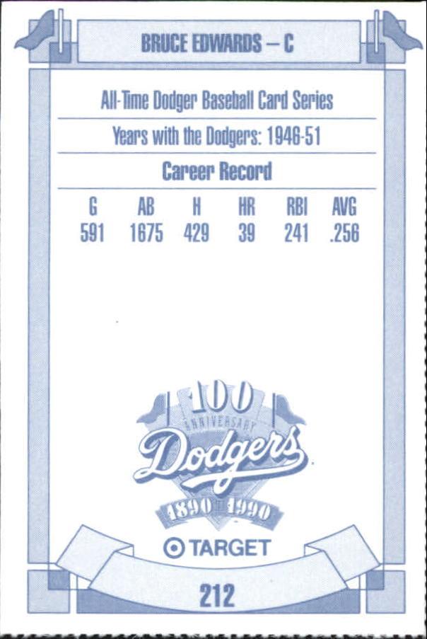 1990 Dodgers Target #212 Bruce Edwards back image