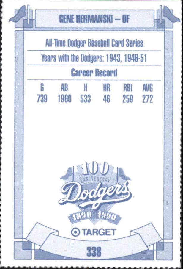 1990 Dodgers Target #338 Gene Hermanski back image