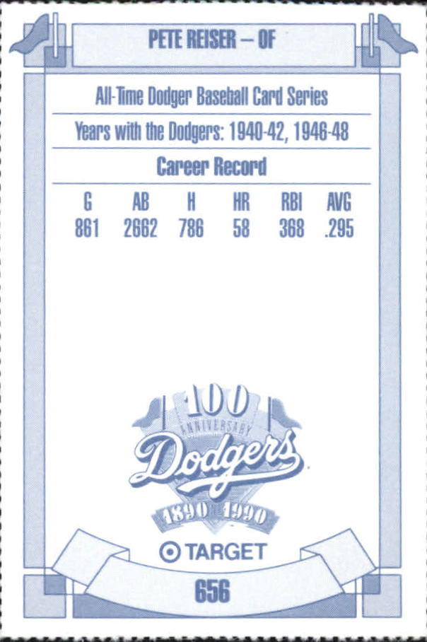 1990 Dodgers Target #656 Pete Reiser back image