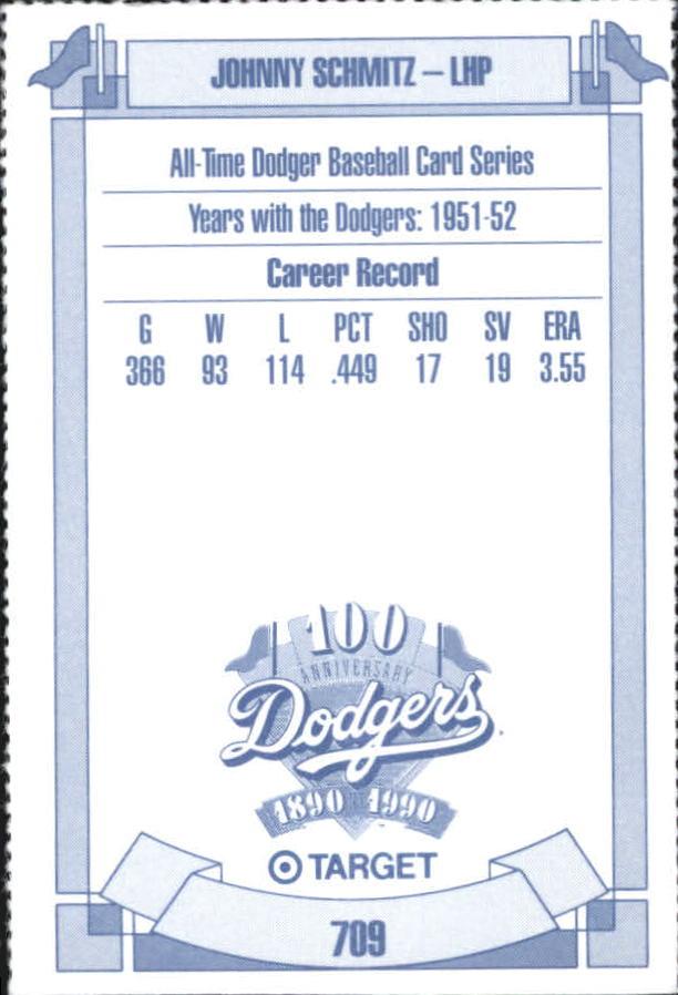 1990 Dodgers Target #709 Johnny Schmitz back image