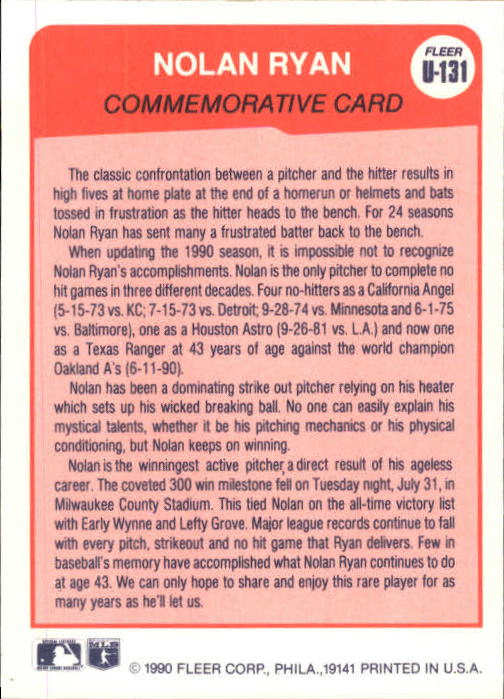 1990 Fleer Update #131 Nolan Ryan SPEC back image