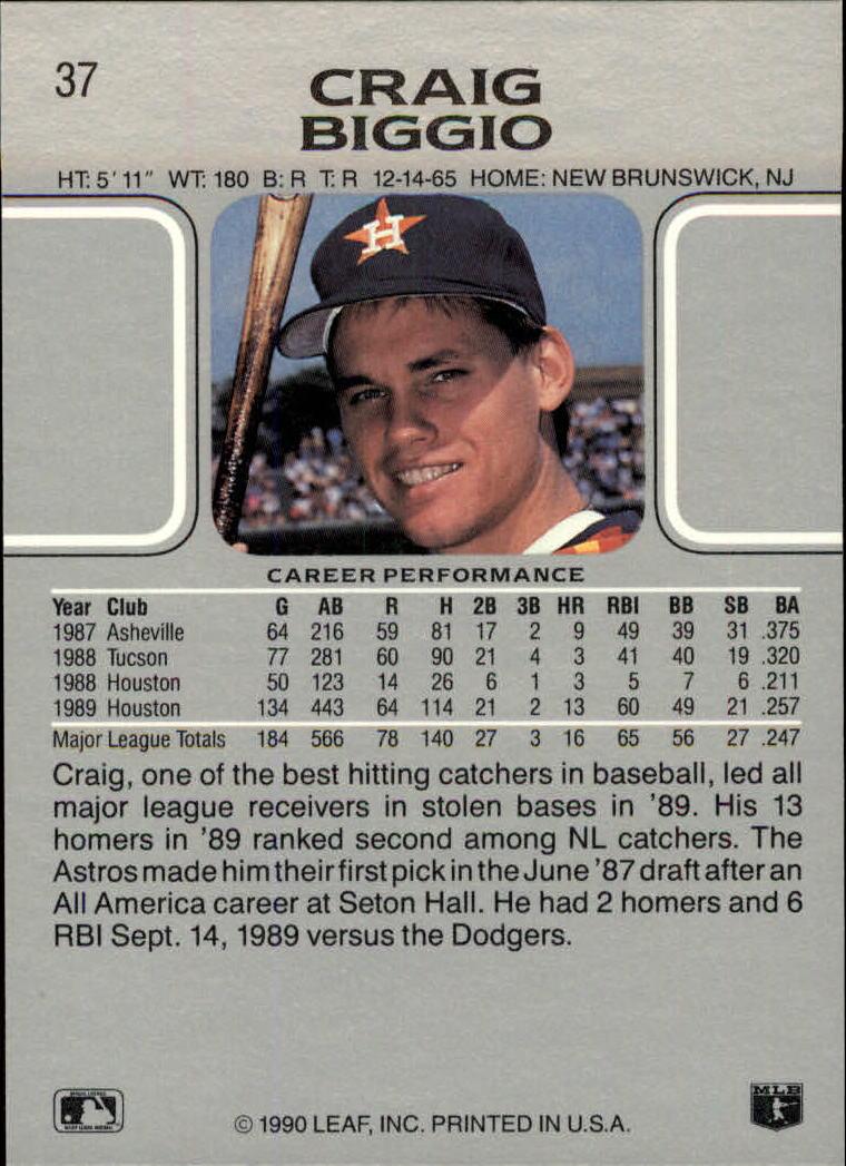 1990 Leaf #37 Craig Biggio back image