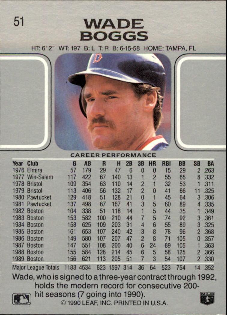1990 Leaf #51 Wade Boggs back image