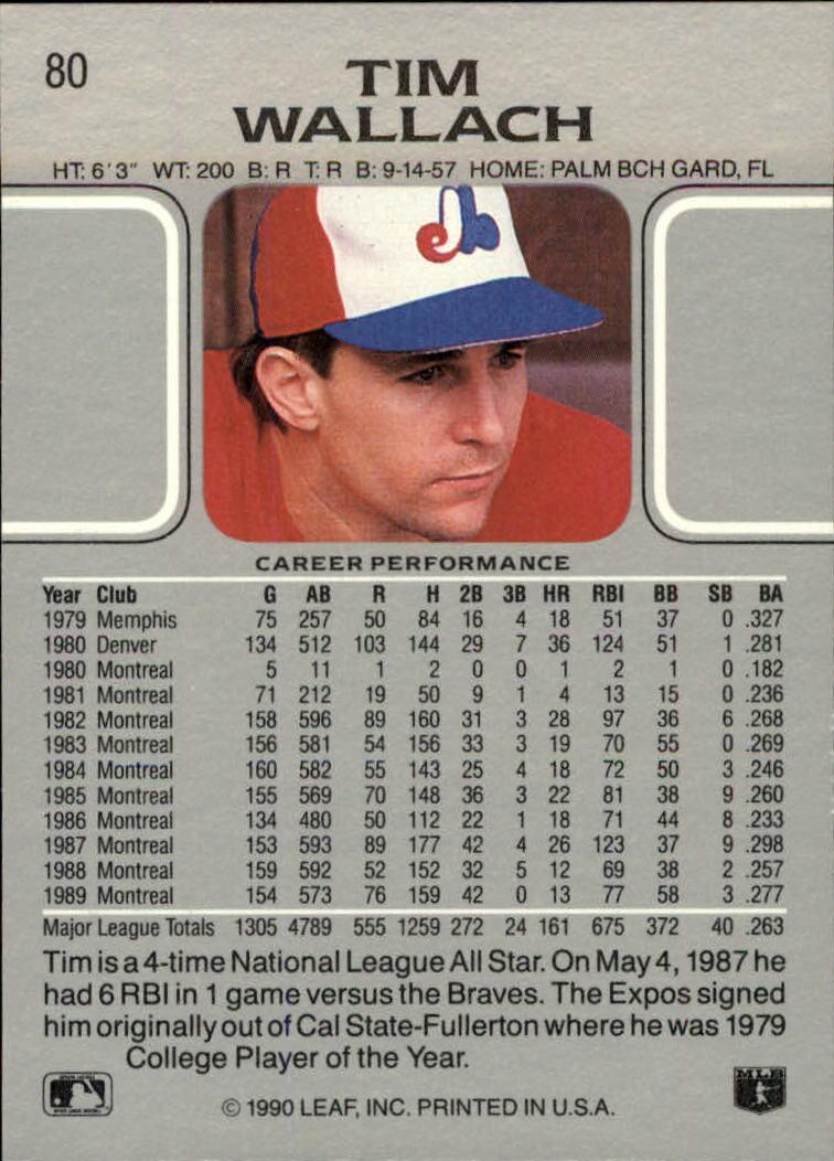 1990 Leaf #80 Tim Wallach back image