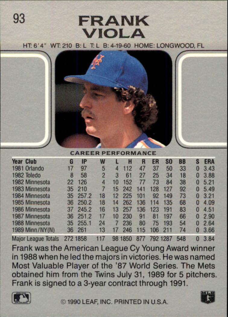 1990 Leaf #93 Frank Viola back image