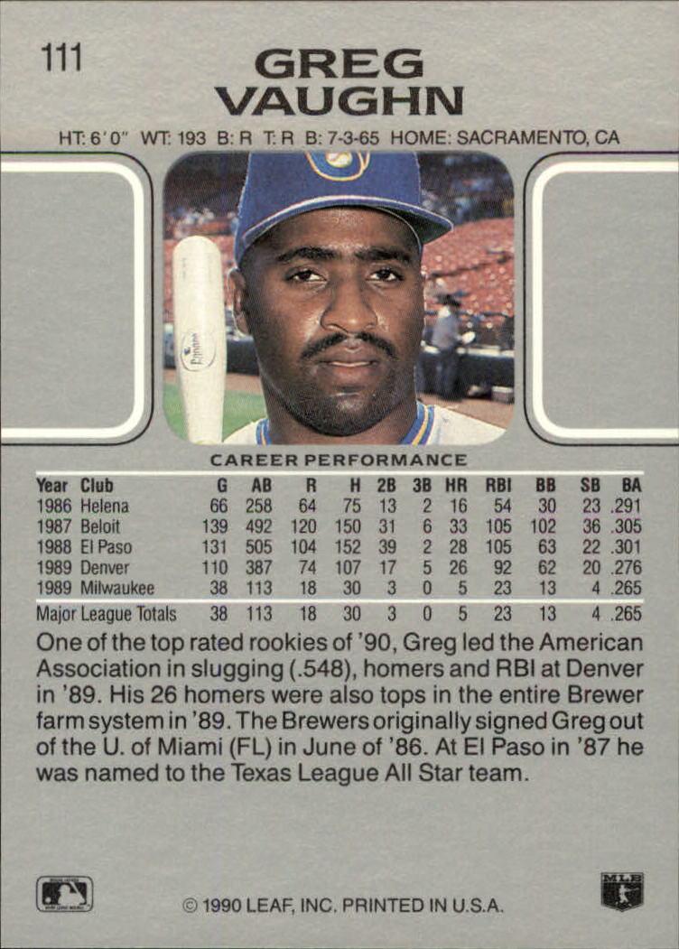 1990 Leaf #111 Greg Vaughn back image