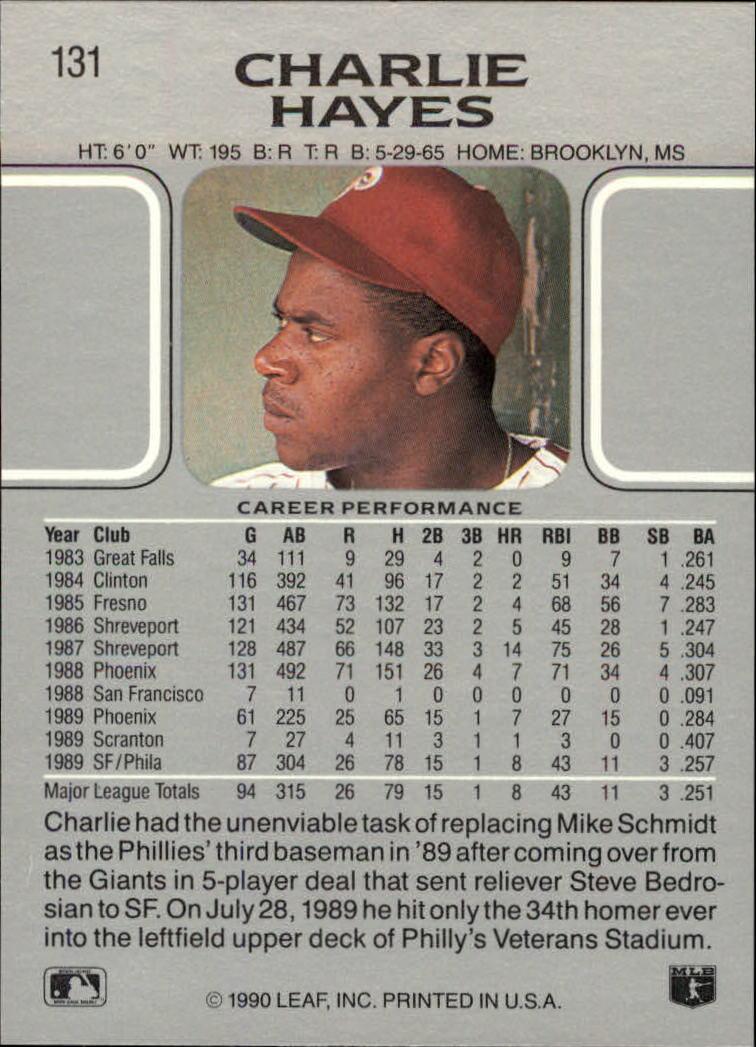 1990 Leaf #131 Charlie Hayes back image