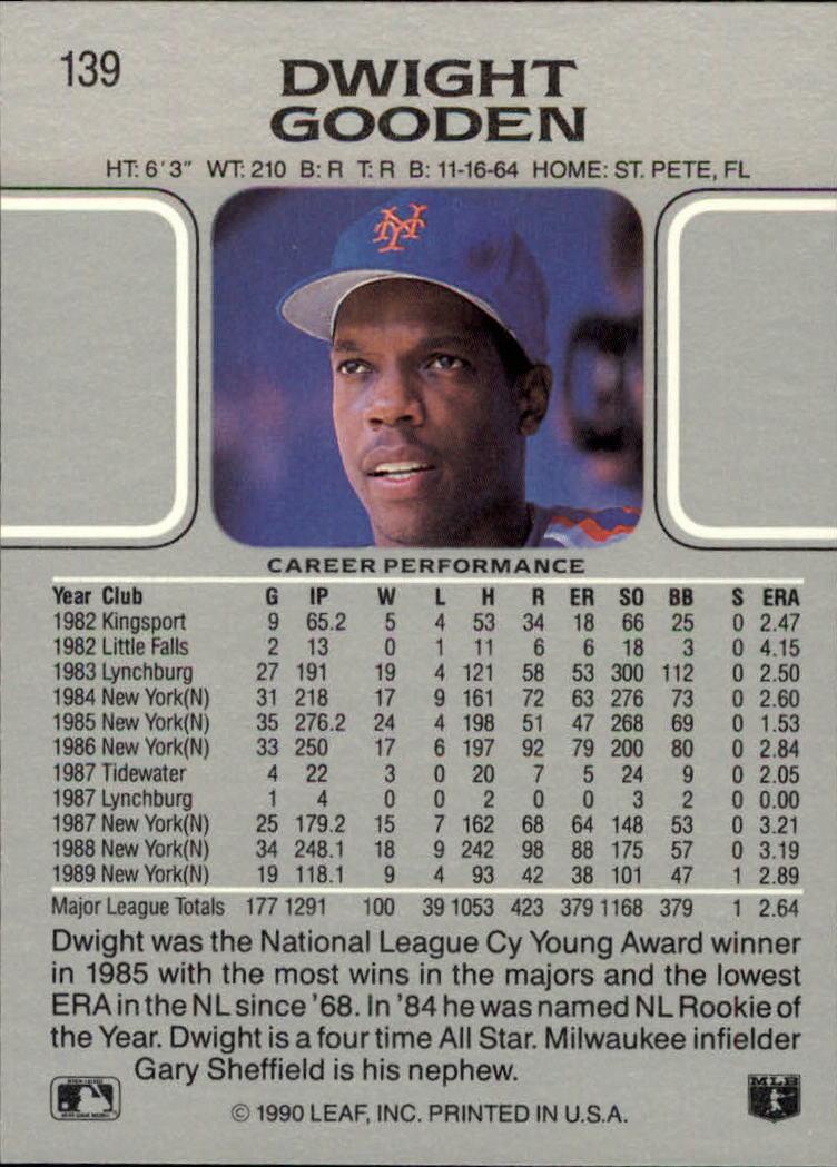 1990 Leaf #139 Dwight Gooden back image