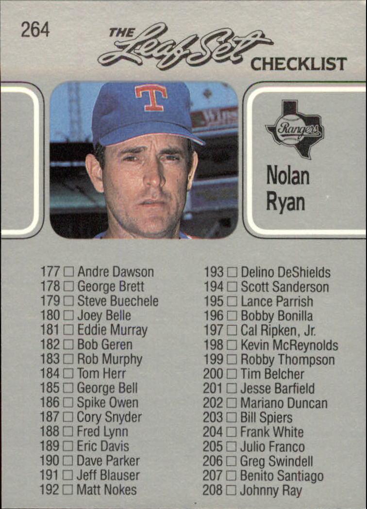 1990 Leaf #264 Nolan Ryan CL UER back image