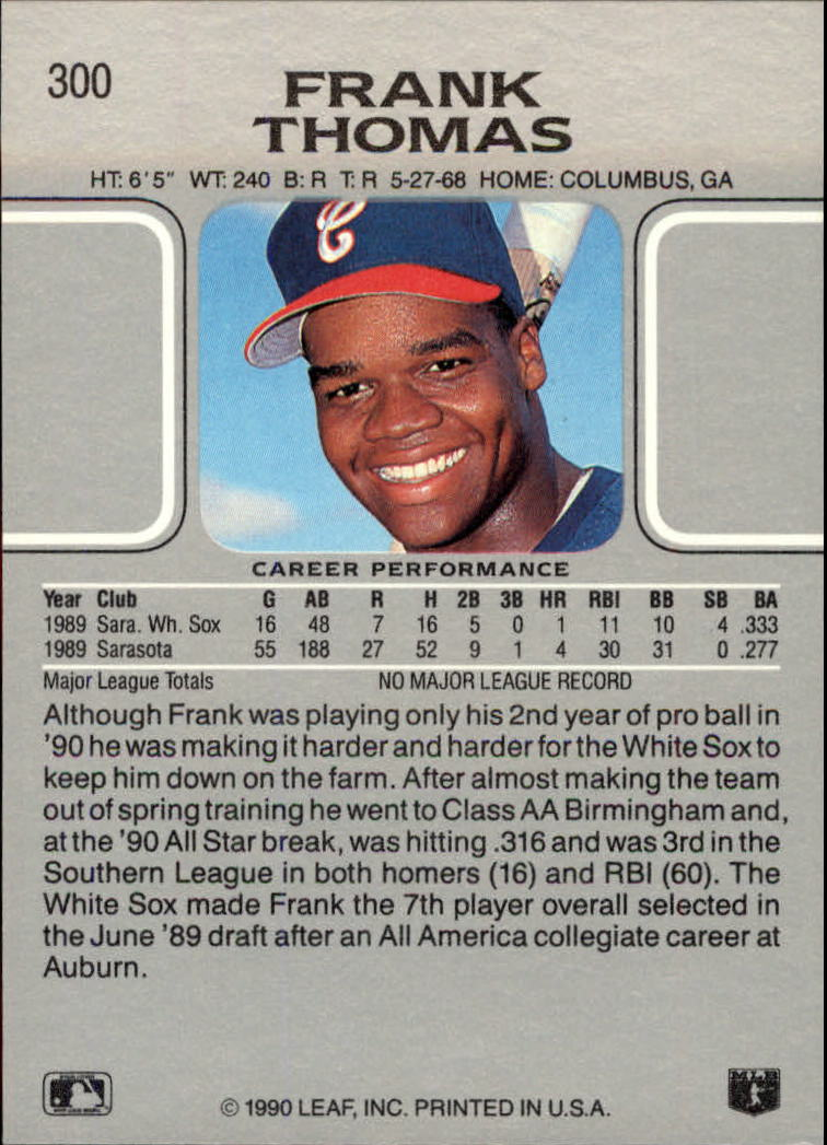 1990 Leaf #300 Frank Thomas RC back image