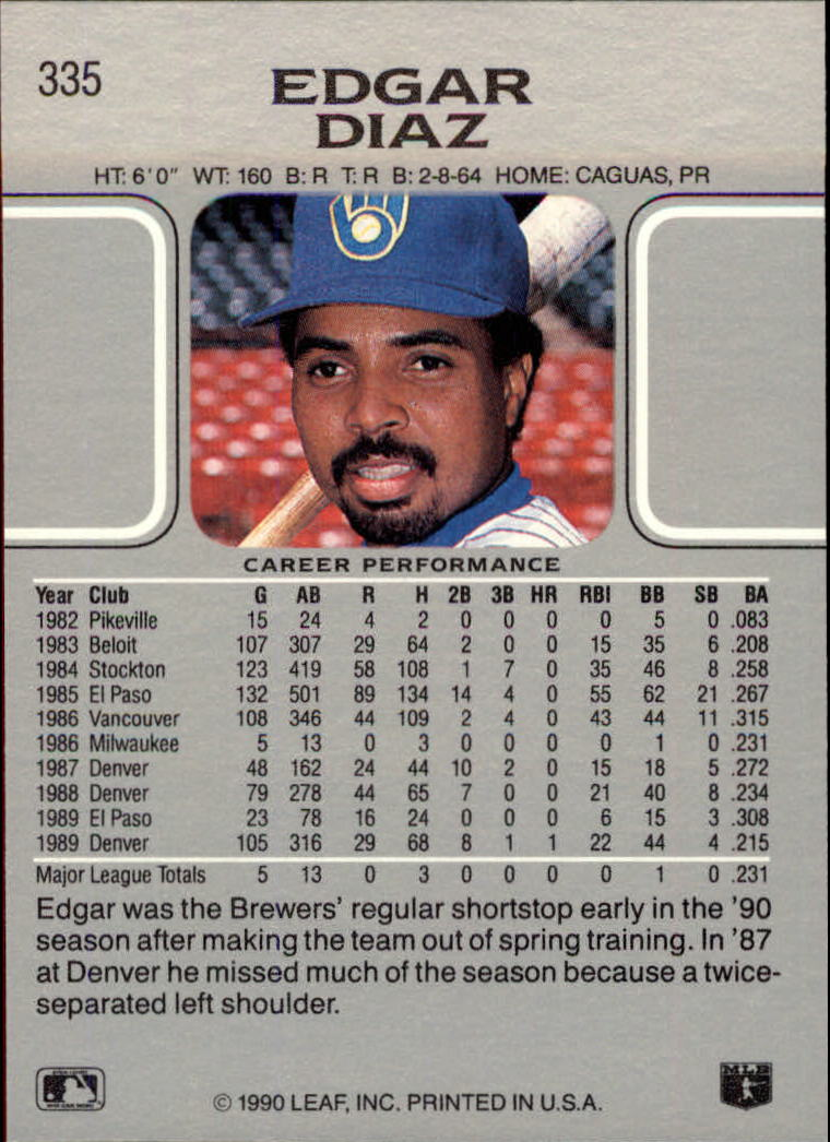 1990 Leaf #335 Edgar Diaz RC back image