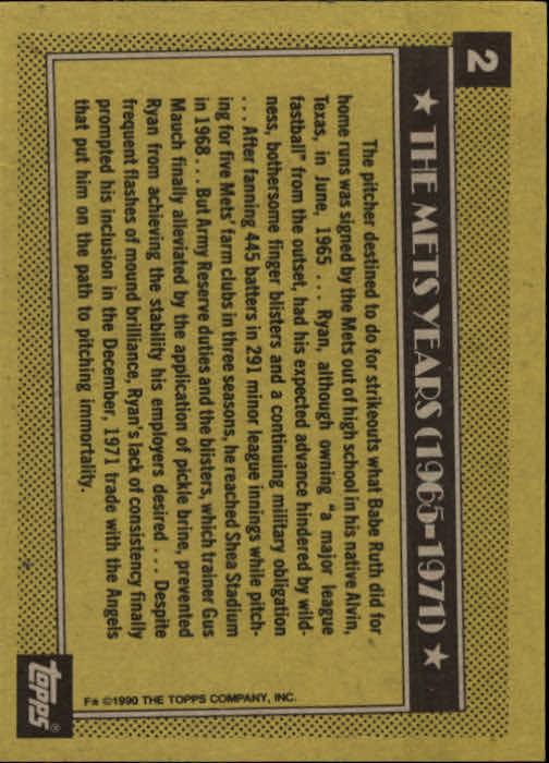 1990 Topps #2 Nolan Ryan Mets back image