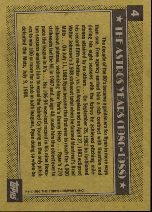 1990 Topps #4 Nolan Ryan Astros back image