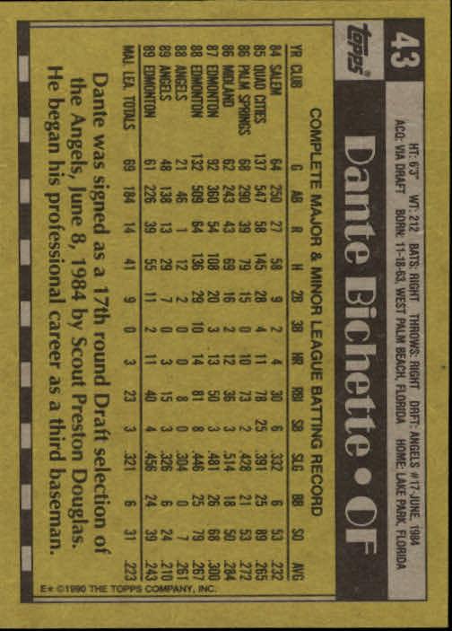 1990 Topps #43 Dante Bichette back image