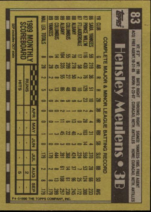 1990 Topps #83 Hensley Meulens back image