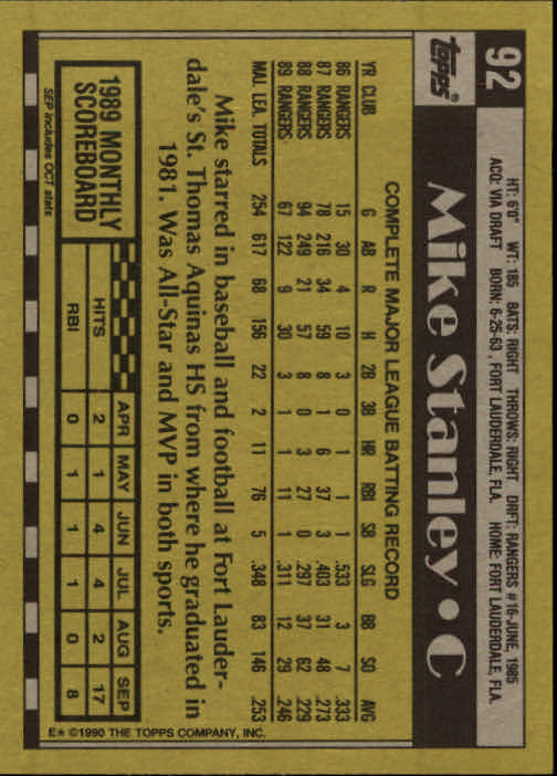 1990 Topps #92 Mike Stanley back image