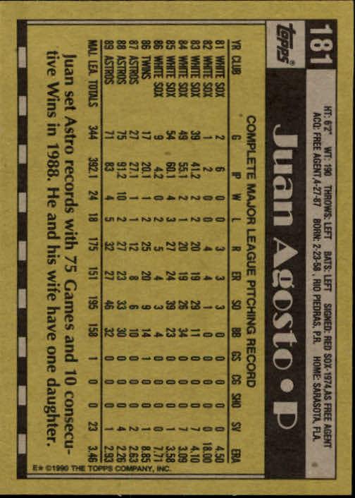 1990 Topps #181 Juan Agosto back image