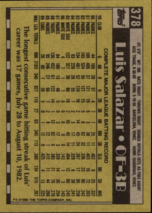 1990 Topps #378 Luis Salazar back image
