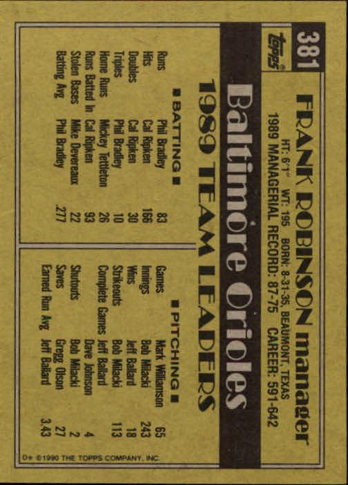 1990 Topps #381 Frank Robinson MG back image