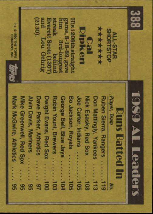 1990 Topps #388 Cal Ripken AS back image