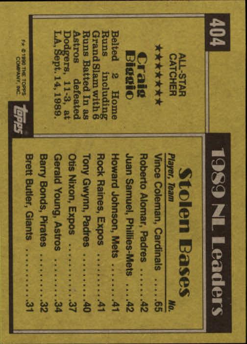 1990 Topps #404B Craig Biggio AS back image