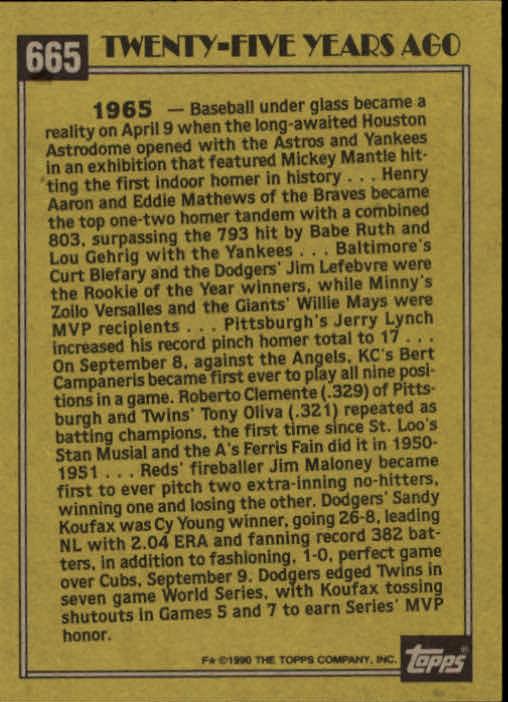 1990 Topps #665 Sandy Koufax TBC'65 back image