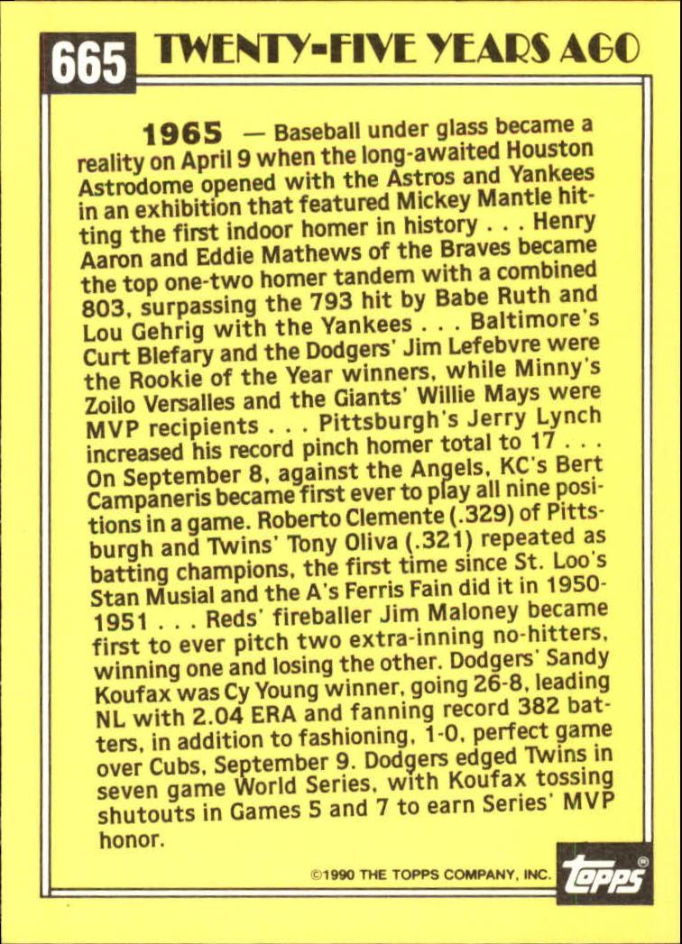 1990 Topps Tiffany #665 Sandy Koufax TBC back image