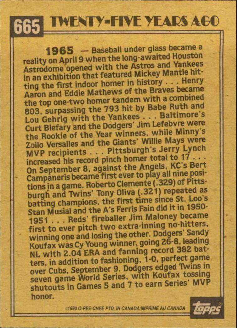 1990 O-Pee-Chee #665 Sandy Koufax TBC'65 back image