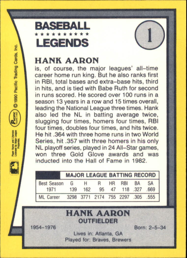 1990 Pacific Legends 1 Hank Aaron Nm Mt