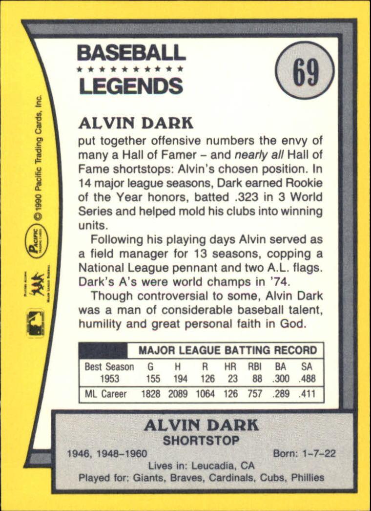 1990 Pacific Legends #69 Alvin Dark back image