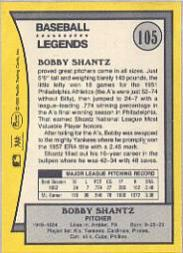 1990 Pacific Legends #105 Bobby Shantz back image