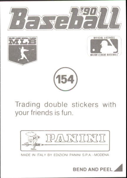 1990 Panini Stickers #154 Randy Johnson back image