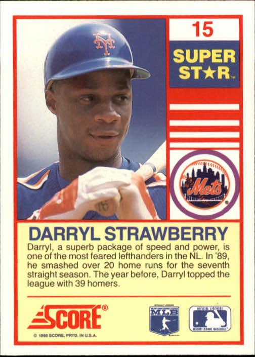 1990 Score 100 Superstars #15 Darryl Strawberry back image