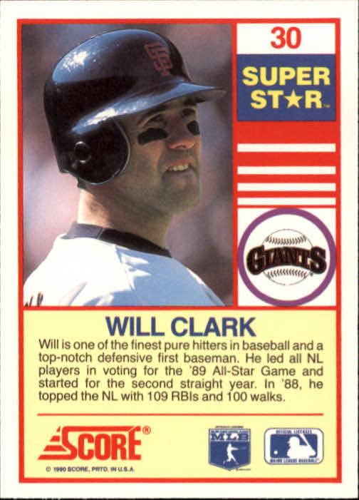 1990 Score 100 Superstars #30 Will Clark back image