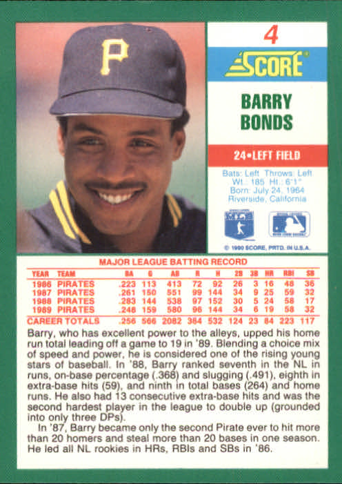 1990 Score #4 Barry Bonds back image