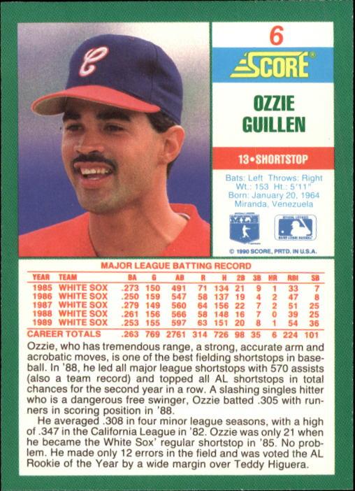 1990 Score #6 Ozzie Guillen back image