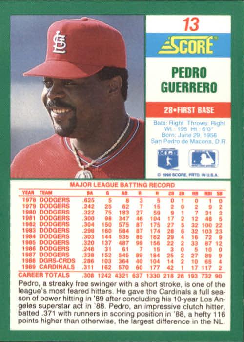 1990 Score #13 Pedro Guerrero back image