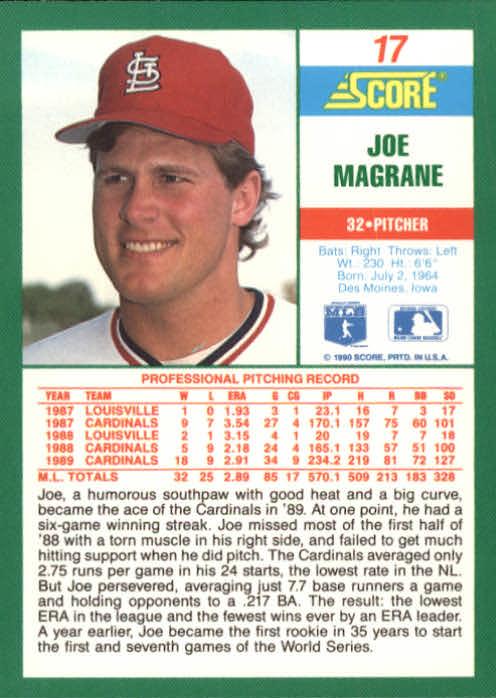 1990 Score #17 Joe Magrane back image