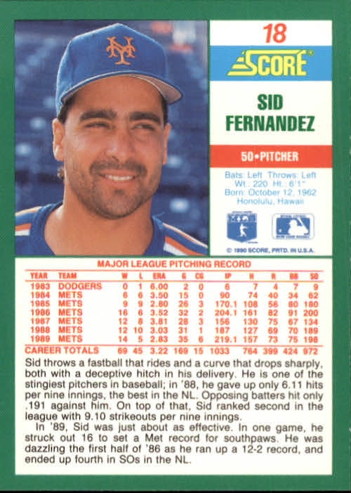 1990 Score #18 Sid Fernandez back image