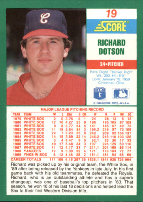 1990 Score #19 Richard Dotson back image