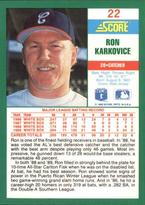 1990 Score #22 Ron Karkovice back image