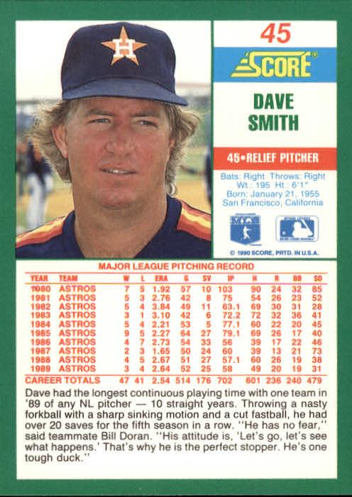 1990 Score #45 Dave Smith back image